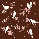Bird in floral twig set Stock Image