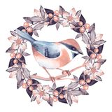 Bird and floral wreath Stock Images
