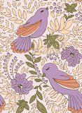 Bird and flower. Seamless abstract pattern with floral vintage design includes stylized flower, bird and berry Royalty Free Stock Photos