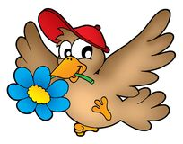 Bird with flower. Color illustration stock illustration
