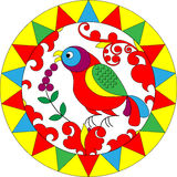 Bird flower. Stylization through the northern Russian paintings on wood Stock Photo