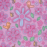 Bird flower butterfly cute pastel seamless pattern Royalty Free Stock Image