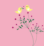 Bird and flower card pattern design Stock Image