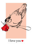 Bird with flower Card for Valentine's Day Royalty Free Stock Photo