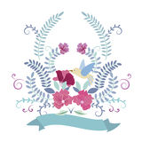 Bird and flower frame Royalty Free Stock Photography