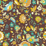 Bird and flower ornament pattern. Seamless vector floral texture Stock Photos