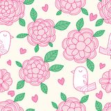 Bird flower pastel color seamless pattern. This illustration is design bird and flower with pink and green pastel colors in seamless pattern on yellow color Stock Image