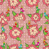 Bird On Flower Seamless Pattern Royalty Free Stock Images