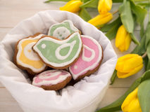 Bird and flower shaped cookies Royalty Free Stock Photos