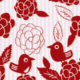 Bird Flower Silhouette Seamless Pattern Stock Image