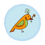 Bird with flower Stock Photography