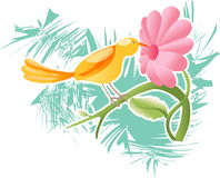 Bird and Flower (Vector). Bird and Flower In Vector Format With Pink Daisy and Abstract Background royalty free illustration