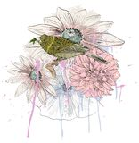 Bird and flower Stock Image