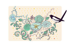 The bird and the flowers Stock Photo