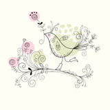 Bird with flowers. Illustration for your greeting card Stock Photo