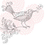 Bird with flowers. Illustration for your greeting card Stock Images