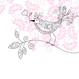 Bird with flowers. Illustration for your greeting card Royalty Free Stock Photography