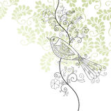 Bird and flowers. Bird with flowers, illustration for your greeting card Royalty Free Stock Image