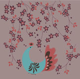Bird with flowers. Abstract vector illustration vector illustration