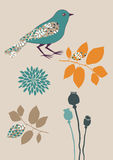 Bird and Flowers. Blue bird and several plants Royalty Free Stock Images