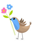 Bird with flowers Royalty Free Stock Photos