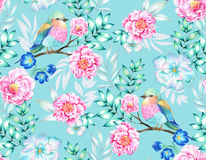 Bird with flowers, . Bouquet of exotic flower with a small colorful tropical bird. Amazing detailed botanical illustration. Hyper real colors and detailed Stock Photography