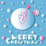 The bird and flowers, Christmas card. On the blue background Royalty Free Stock Photos