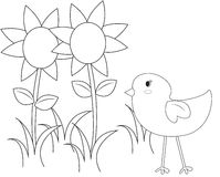 Bird with flowers coloring page. Useful as coloring book for kids Royalty Free Stock Photo