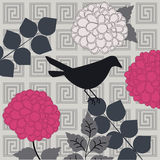 Bird with flowers. And geometric pattern background Royalty Free Stock Photo