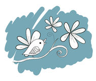 Bird with flowers, hand drawn illustration Stock Photography