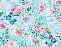 Bird with flowers, isolated. Bouquet of exotic flower with a small colorful tropical bird. Amazing detailed botanical illustration. Hyper real colors and Royalty Free Stock Photo
