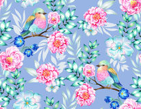Bird with flowers, isolated. Bouquet of exotic flower with a small colorful tropical bird. Amazing detailed botanical illustration. Hyper real colors and Royalty Free Stock Photos