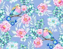 Bird with flowers, isolated. Bouquet of exotic flower with a small colorful tropical bird. Amazing detailed botanical illustration. Hyper real colors and Stock Images