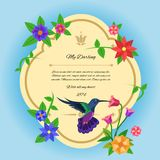Bird And Flowers Postcard Royalty Free Stock Photo