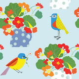 Bird and flowers pot seamless pattern cute Stock Photography