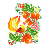 Bird with flowers, Ukrainian traditional painting Petrikovskaya. Vector illustration bird with flowers, Ukrainian traditional painting Petrikovskaya Stock Images