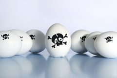 Bird flu virus. Eggs with a skull on a white background stock photos