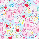 Bird fly find love seamless pattern. This illustration is design and drawing bird fly find love in colorful and cloud background seamless pattern Royalty Free Stock Image