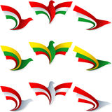 Bird Fly Flag Sign Symbol Insignia Hungary Lithuania Austria. Set of emblems from the stylized birds; Wing of an eagle; Wing of a pigeon; Flag of Hungary Royalty Free Stock Images