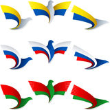 Bird Fly Flag Sign Symbol Insignia Ukraine Russia Belarus. Set of emblems from the stylized birds; Wing of an eagle; Wing of a pigeon; Flag of Ukraine, Russia Stock Photo