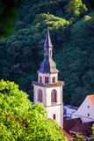 Bird-fly overview to small village in Alsace. France. Summer day Stock Photography