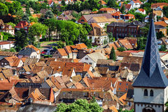 Bird-fly overview to small village in Alsace. France. Summer day Royalty Free Stock Photography