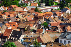 Bird-fly overview to small village in Alsace. France. Summer day Stock Photo