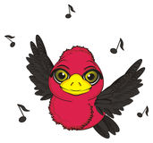 Bird fly and sing. Cute bird fly around a lot of black music notes Royalty Free Stock Images