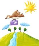 Bird fly south. Acrylic illustration of bird fly south Royalty Free Stock Photography