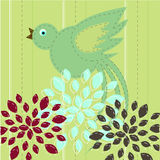 Bird flying. Above flowers - vector illustration Stock Illustration