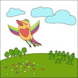 A bird flying above the earth, an illustration for decoration. vector illustration