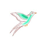 Bird flying. Hand-drawn illustration natural flying birds on white background Stock Photos