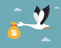 Bird flying with money bag Royalty Free Stock Image