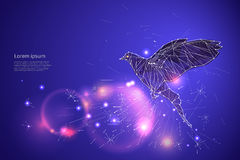 The bird flying with motion and effect. line dot design. vector Royalty Free Stock Photography